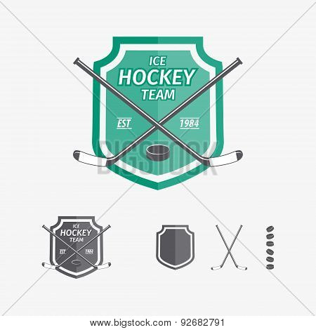 Hockey sports emblems and symbols for team logo. Hockey, game, sport