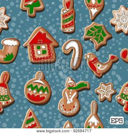 Colorful cookies frame seamless pattern background. Vector illustration.