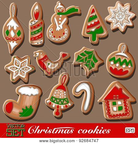 Colorful cookies set pattern on a background. Vector illustration.