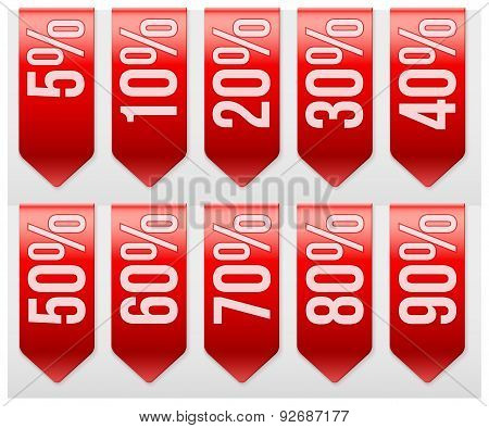 Sale Ribbons with different percentages of discount.
