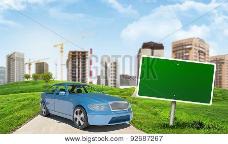 Blue car on urban background
