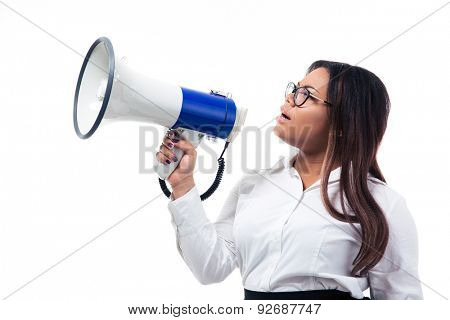 African businesswoman shouting in megaphone isolated on a white background