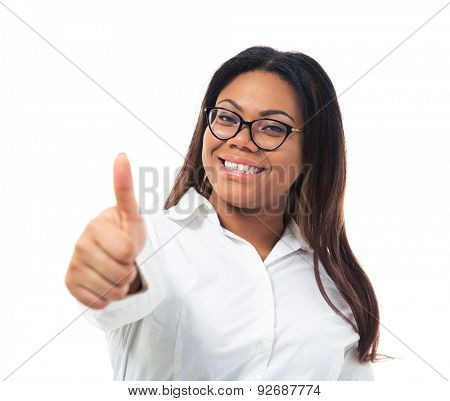Afro american businesswoman in glasses showing thumb up isolated on a white background. Looking at camera