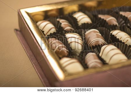 Premium date chocolates in a box. Close up with selective focus treatment.