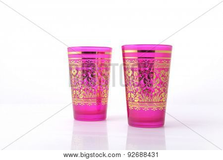 Moroccan design colorful glasses on white background.