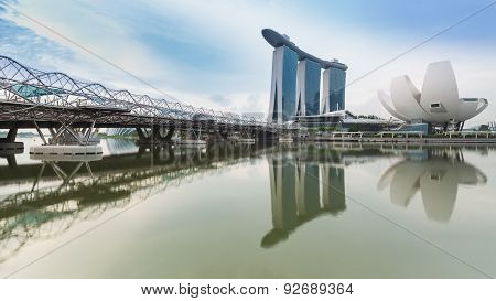 Helix Bridge and Marina Bay Sands Hotel Singapore travel landmark