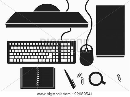 Desktop With Computer PC