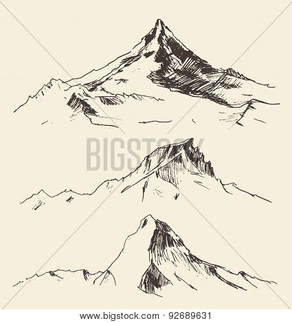 Mountains Contours Engraving Vector Hand Draw