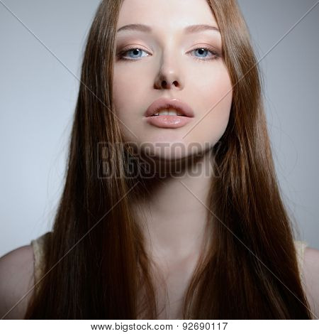 Portrait of pretty young woman, closeup. Natural beauty.