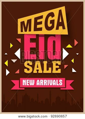 Mega sale poster, banner or flyer design decorated with mosque silhouette on occasion of Muslim community festival, Eid celebration.