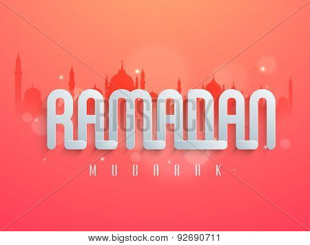 Beautiful greeting card design decorated with glossy silver text Ramadan on mosque silhouetted background for Islamic holy month of prayers, celebration.