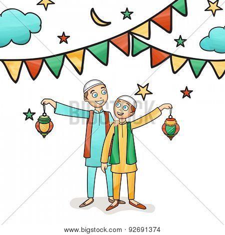 Illustration of happy cute kids celebrating and enjoying on occasion of islamic holy month, Ramadan Kareem celebration.