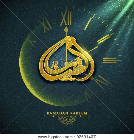 Golden Arabic Islamic calligraphy of text Ramazan on creative glowing clock, indicating time for prayers on stylish background, for holy month of Muslim community, Ramadan Kareem celebration.