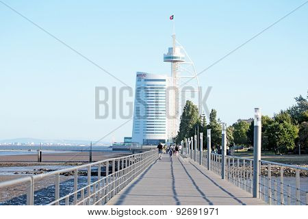 LISBON, PORTUGAL - May 31, 2015: Vasco da Gama tower built for the Expo '98 (1998 Lisbon World Exposition) in Lisbon, Portugal, on May 31, 2015