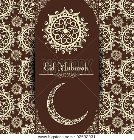 Muslim community festival, Eid Mubarak celebration greeting or invitation card design decorated with crescent moon and beautiful floral design.
