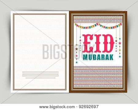Muslim community festival, Eid celebration greeting card design decorated with colorful hanging stars and buntings.