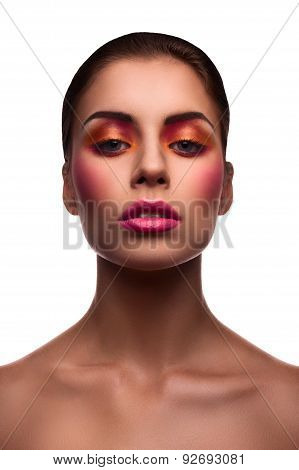 Beautiful Fashion Model With Pink Lips And Blush And Glossy Eyelids