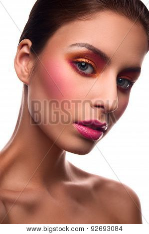 Beauty Fashion Model With Pink Blush And Lips