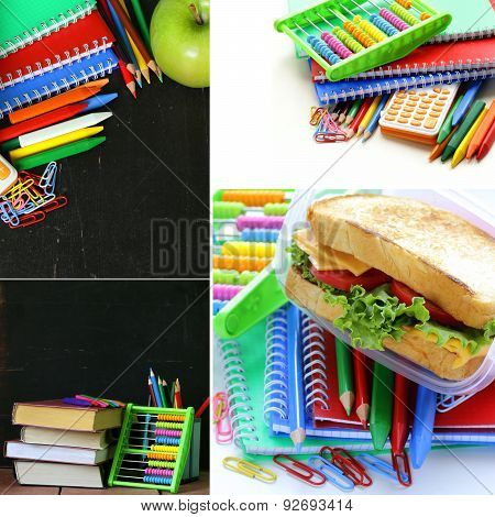 collage school stationery and  lunch box - Back to school concept