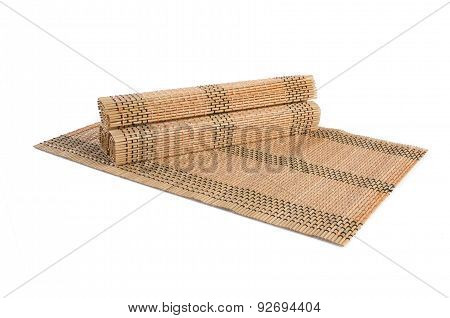 Bamboo Mat. Bamboo Mat On A Background. Bamboo Mat. Bamboo Mat On A Background.