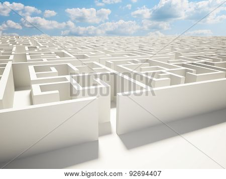 Maze Wall And Blue Sky Illustration Design