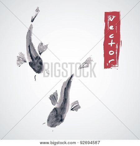 Abstract vector images of fish in the traditional Japanese style