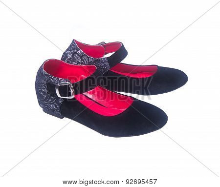 Shoe. Black Colour Fashion Woman Shoes On A Background.