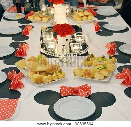 Cartoon decorated girl birthday table