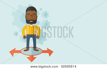 A black guy businessman standing on three ways arrows for selection. Business concept.A contemporary style with pastel palette soft blue tinted background. Vector flat design illustration. Horizontal