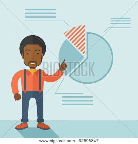 A young black guy represents and share his business financial pie chart. Teamwork concept. A contemporary style with pastel palette soft blue tinted background. Vector flat design illustration. Square