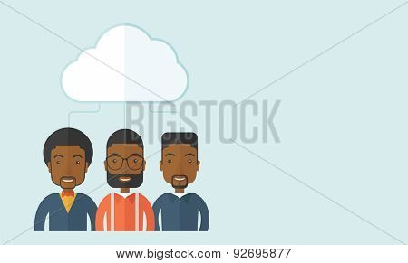 A happy successful Business people group standing under the cloud. A contemporary style with pastel palette soft blue tinted background with desaturated clouds. Vector flat design illustration