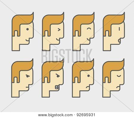 Men face with different expressions and colored hair in front view.  A contemporary style. Vector flat design illustration with isolated white background. Horizontal layout