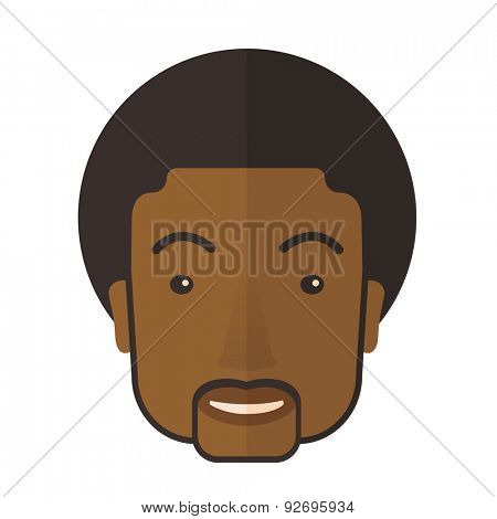 A proud happy black young guy. A Contemporary style. Vector flat design illustration isolated white background. Square layout