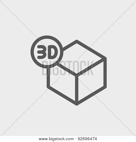 3D box icon thin line for web and mobile, modern minimalistic flat design. Vector dark grey icon on light grey background.
