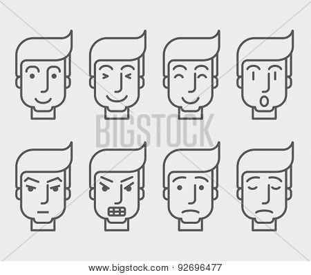 Men face with different expressions in front view. A contemporary style. Vector flat design illustration with isolated white background. Horizontal layout