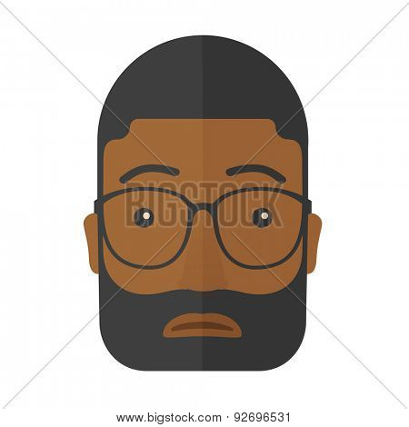 A facial expression of black african man wearing eyeglasses. A Contemporary style. Vector flat design illustration isolated white background. Square layout