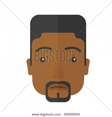 A face of a sad but a good looking black guy with his hairstyle. A Contemporary style. Vector flat design illustration isolated white background. Square layout