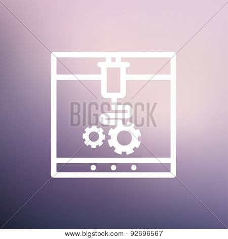 3D printer with infographic design icon thin line for web and mobile, modern minimalistic flat design. Vector white icon on gradient mesh background.