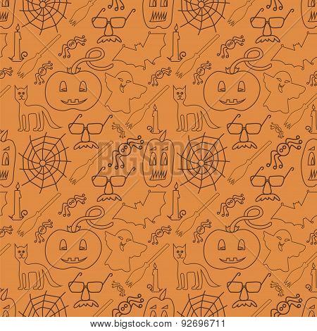 Halloween Seamless Pattern On Orange Background