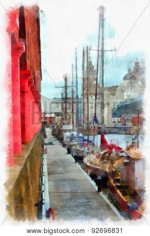 A Digitally Constructed Painting Of The Albert Dock Liverpool Uk In Aquarelle Style