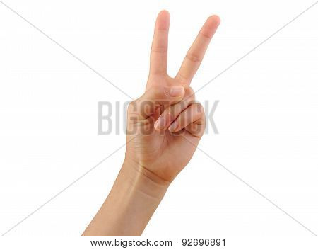 Girl hand showing two fingers isolated on a white background. Number two