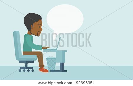 A black american sitting infront of the computer with magnifying glass looking for a job online. A contemporary style with pastel palette soft blue tinted background. Vector flat design illustration