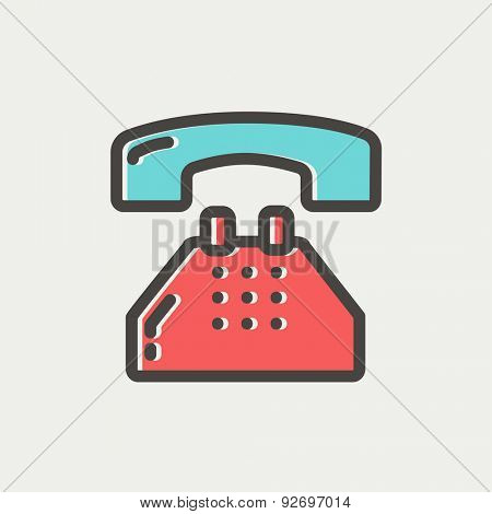 Telephone icon thin line for web and mobile, modern minimalistic flat design. Vector icon with dark grey outline and offset colour on light grey background.