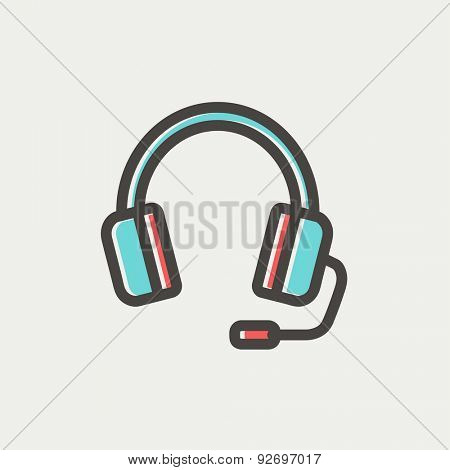 Headphones with microphone icon thin line for web and mobile, modern minimalistic flat design. Vector icon with dark grey outline and offset colour on light grey background.