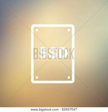 SSD Solid state drive icon thin line for web and mobile, modern minimalistic flat design. Vector white icon on gradient mesh background.