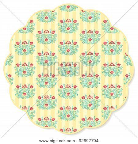 Retro Flower Round Napkin