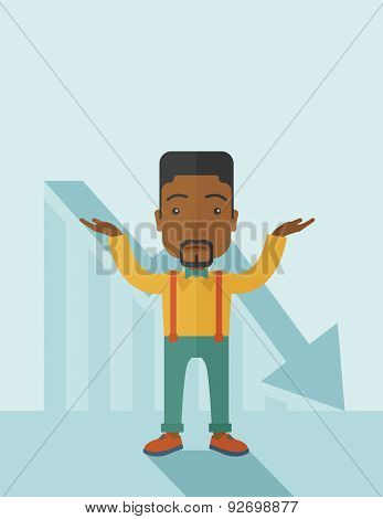 A sad black guy raising his two arms surrendering causing of his failed business. Graph arrow down, shares fall. Unsuccessful business concept. A contemporary style with pastel palette soft blue