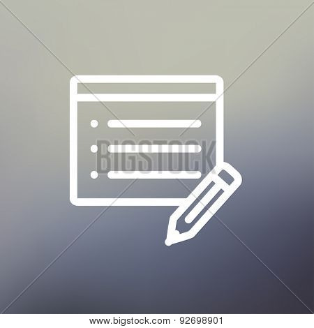 Note pad and pencil icon thin line for web and mobile, modern minimalistic flat design. Vector white icon on gradient mesh background.