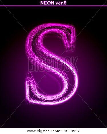 Glowing neon letter S