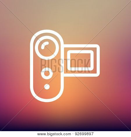 Digital video camera icon thin line for web and mobile, modern minimalistic flat design. Vector white icon on gradient mesh background.